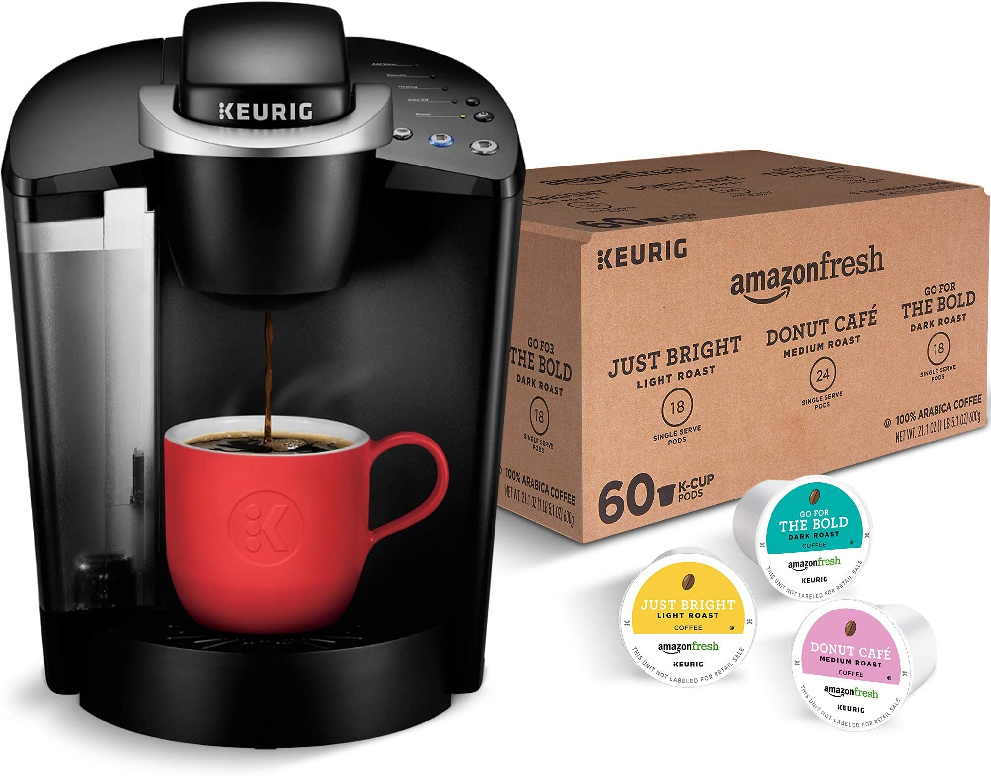 Keurig K-Classic Coffee Maker with AmazonFresh 60 Ct. Coffee Variety Pack, 3 Flavors
