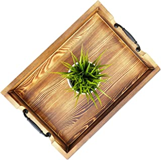 Decore Wooden Serving Tray with Handles (20 x 14 x 3 Inch) Rustic Torched Barnwood with Modern Metal Handles to Use As Ottoman Tray, Coffee Table Tray, Food Serving Tray