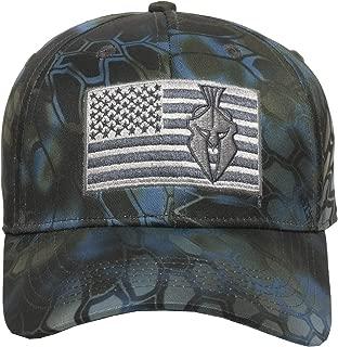 Flag Camo Hunting Hat - American Flag & Spartan Helmet Logo, 3D Layered Camouflage