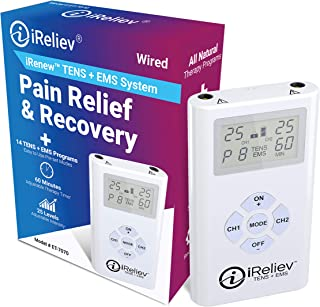 iReliev TENS + EMS Combination Unit Muscle Stimulator for Pain Relief & Arthritis & Muscle Strength - Treats Tired and Sore Muscles in Your Shoulders, Back, Ab's, Legs, Knee's and More