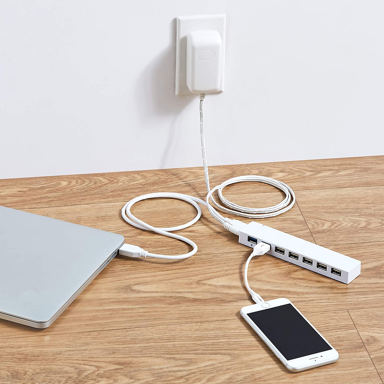 White Basics Slim High-Speed 10 Port USB 3.0 Hub with AC Adapter for use with Macbook iMac Mac Pro Surface Pro and more