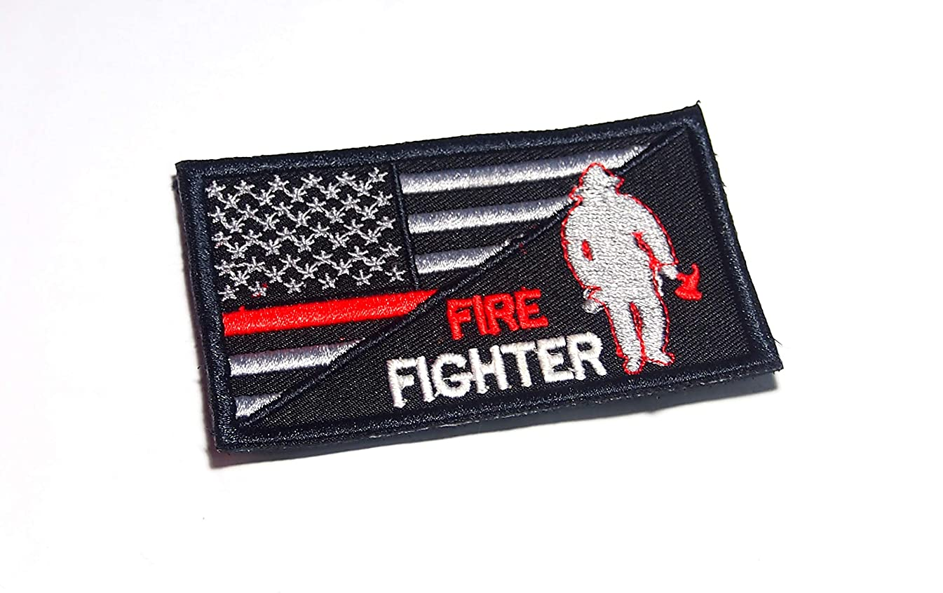 AstroG @ BP8 USA Flag Thin Red line Firefighter Embroidered Morale Patch for Sew-on Only