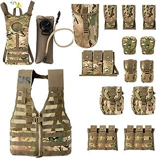 MT US Military Molle II Rifleman Combat Vest FLC Pouches, Assault Hydration Pack-Tactical Backpack Multicam