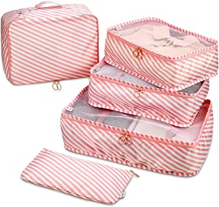 Travel Packing Cubes - 6 Piece Set Luggage Packing Organizers and Compression Packing Cube System for Travel with Shoe Bag...