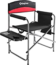 KingCamp Heavy Duty Camping Folding Director Chair Oversize Padded Seat with Side Table and Side Pockets, Supports 396 lbs