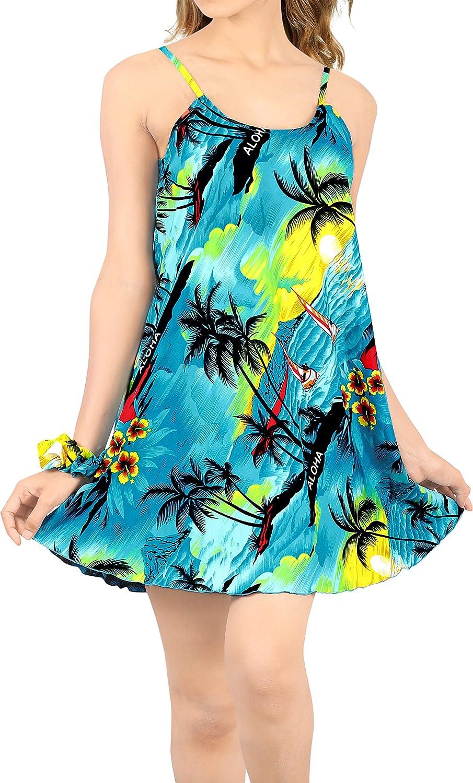 LA LEELA Women's Plus Size Summer Beach Casual Dress Swimwear Cover Up Printed B