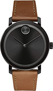 Movado Bold, Ionic Plated Black Steel Case, Black Dial, Cognac Leather Strap, 3600537