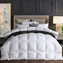 Goose Down Comforter 100% Egyptian Cotton 750+ Fill Power Insert King Comforter 1200 Thread Count Baffle Box Stitched Down Proof Duvet Comforter with Corner Tabs for All Seasons, White 106x90Inches
