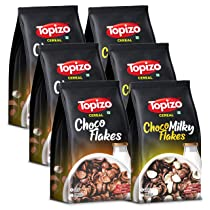 Topizo Cereal Choco Flakes & Choco Milky Flakes (Wholegrain High Fibre Wheat Chocos) Pack of 6, 1.2kg