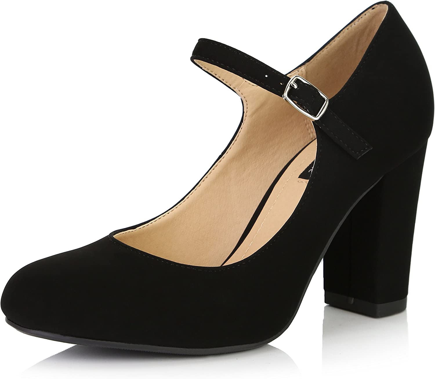 Dailyshoes Women's Chunky Classic Round Toe Ankle Strap shoes with Buckle Closure