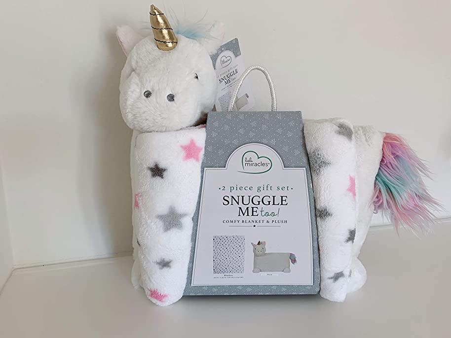 Little Miracles Snuggle Me Too! 2 -Piece Comfy Blanket and Plush Gift Set- Unicorn
