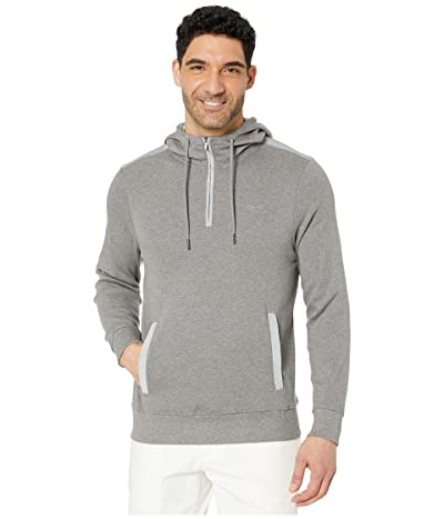 Calvin Klein Long Sleeve Woven Blocked 1/4 Zip Hood (Medium Grey Heather Combo) Men