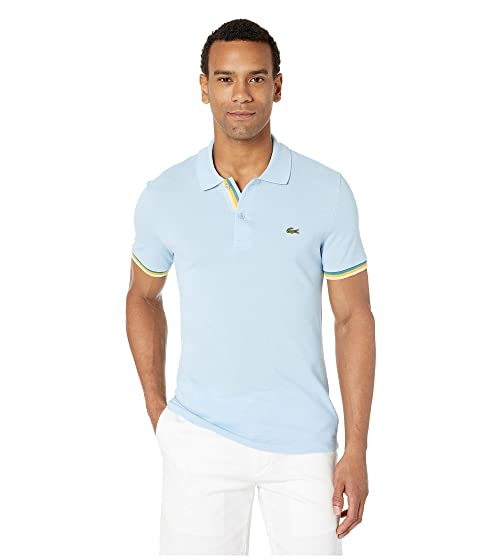 2dca5f986e5 Lacoste Short Sleeve 2 Ply Pique Slim Fit Striped Bottom Sleeve Polo ...