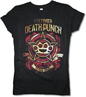 Five Finger Death Punch Stars Girls Juniors Black T Shirt 5FDP