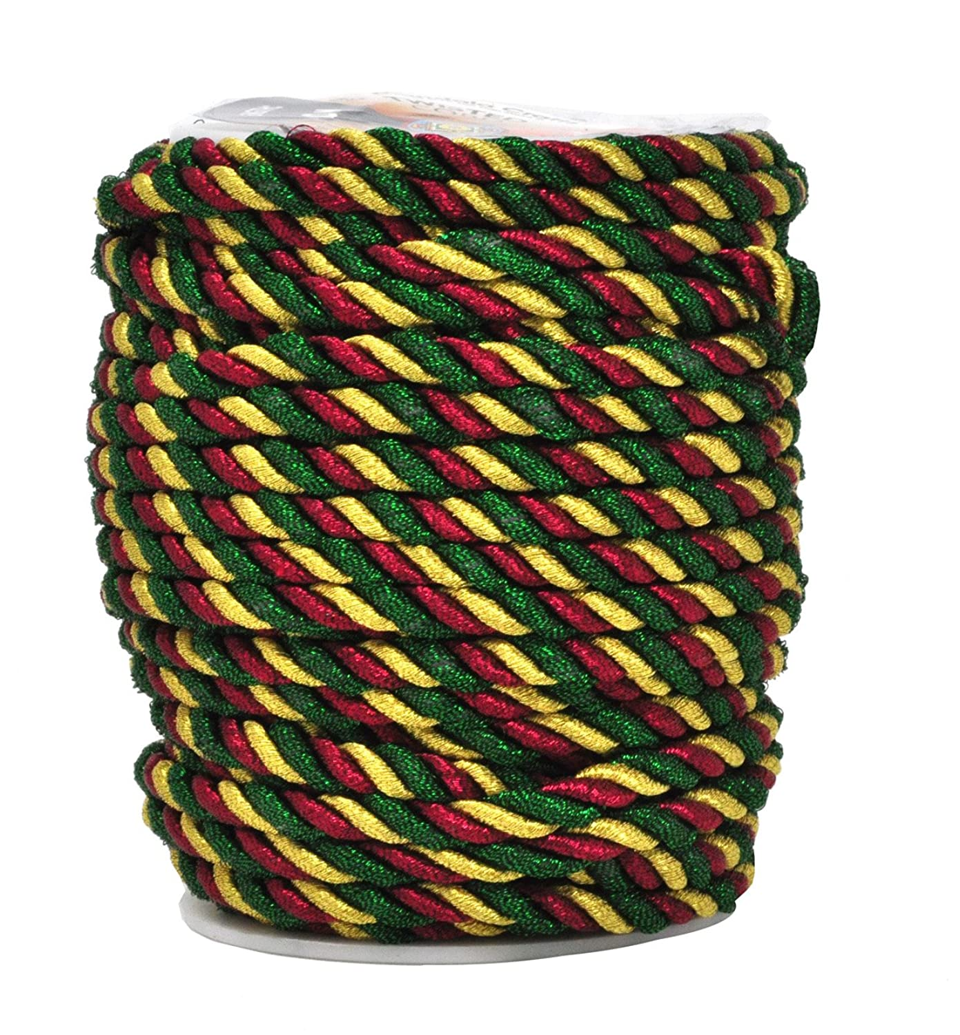 Mandala Crafts Rayon Twisted Cord Trim, Shiny Viscose Cording for Home Décor, Upholstery, Curtain Tieback, Honor Cord (5mm, Red Green)