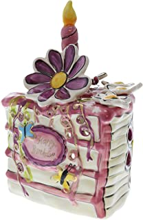 Heather Goldmine Ceramic Birthday Cake Tealight Candle Holder (Pink Butterfly)