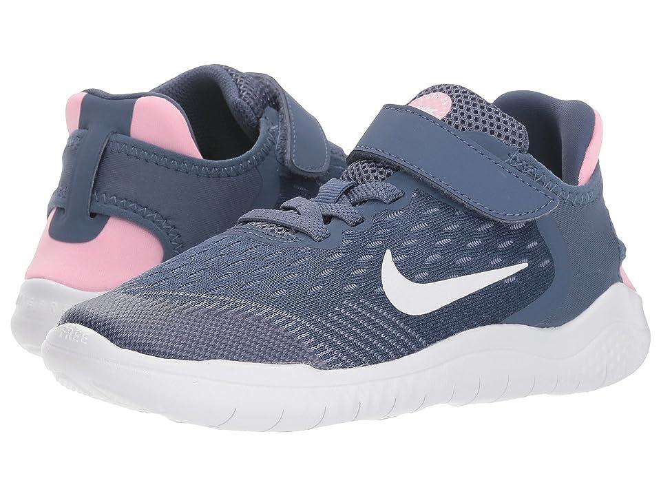 Nike Kids Free RN 2018 (Little Kid) (Diffused Blue/White/Ashen Slate/Pink) Girls Shoes