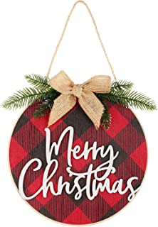 Best Jetec Merry Christmas Decorations Wreath Christmas Hanging Sign Rustic Burlap Wooden Holiday Decor for Christmas Home Window Wall Farmhouse Indoor Outdoor Decorations (Red and Black) Review