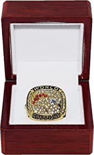 DENVER BRONCOS (John Elway) 1997 SUPER BOWL XXXII WORLD CHAMPIONS Vintage Rare & Collectible High-Quality Replica NFL Football Gold Championship Ring with Cherrywood Display Box