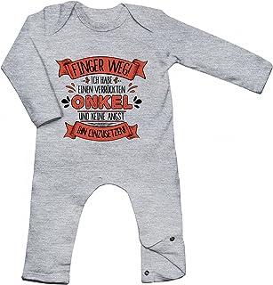 Shirt Happenz Baby Spruch Onkel Babybody Finger Weg Onkel Verrückt Langarm Langärmliger Strampler