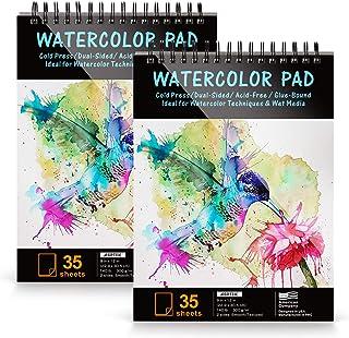 AGPTEK Pappersblock, akvarellpappersblock 2 förpackningar 22,86 x 30,48 cm (9 x 12 tum), 300 g/140 lb, 70 ark, syrafri, pe...