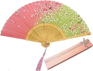 Libetui Handfächer Vintage Japanisches Stil Fächer Dekofächer aus Bambus und Stoff Klappfächer für Frauen Sommer Feste Party Hochzeit Hand Fan mit Geschenkbox Hellgrün-Rosa