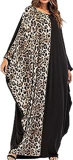 فستان حريمي من Qianliniuinc - فستان نسائي كبير الحجم فضفاض على شكل دبي قفطان أنيق لحفلات الكوكتيل مزين بالترتر مقاس واحد أسود