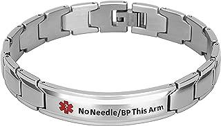Elegant Surgical Grade Steel Medical Alert ID Bracelet for Men and Women (Men's, No Needle/BP This Arm)