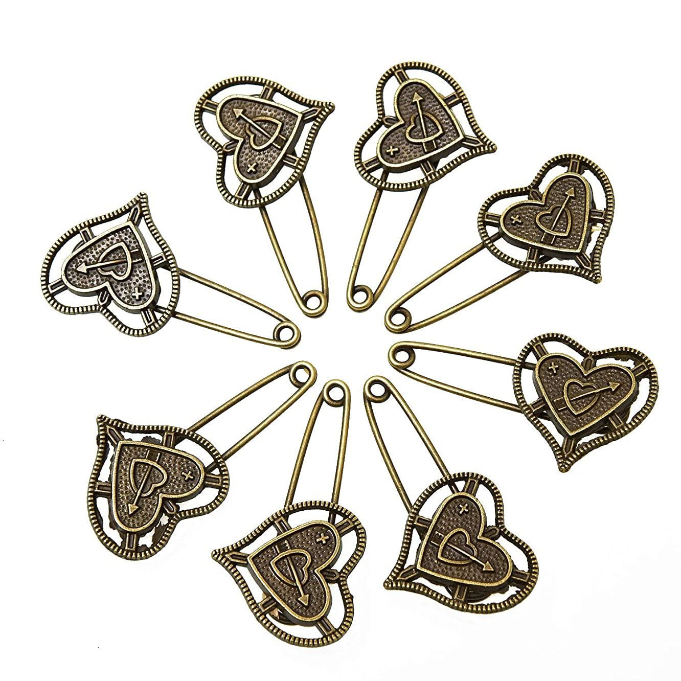 Monrocco 10Pcs Antique Bronze Love Heart Safety Pins Brooches Vintage Hijab Pins Brooch Pins Scarf Lapel Pins Acessories