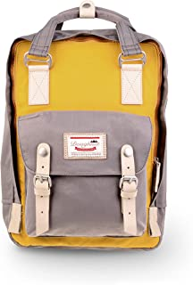 Macaroon 16L Travel School Ladies College Girls Lightweight Casual Daypacks Bag Backpack Mustard x Light Grey