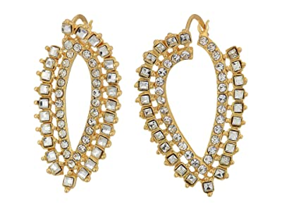 Vince Camuto Wraparound Hoop Earrings with Pave and Square Stones (Gold/Crystal) Earring