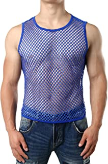 JOGAL Men's Mesh Fishnet Fitted Sleeveless Muscle Top