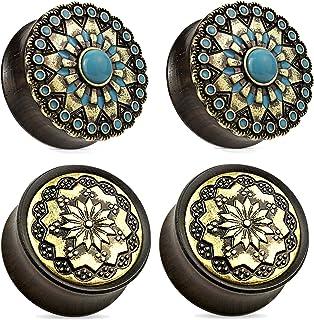 Zaya Body Jewelry 2 Pairs Black Wood Tribal Turquoise Flower Wood Ear Plugs Tunnels 0g 1/2 9/16 5/8 3/4 7/8 1 Inch