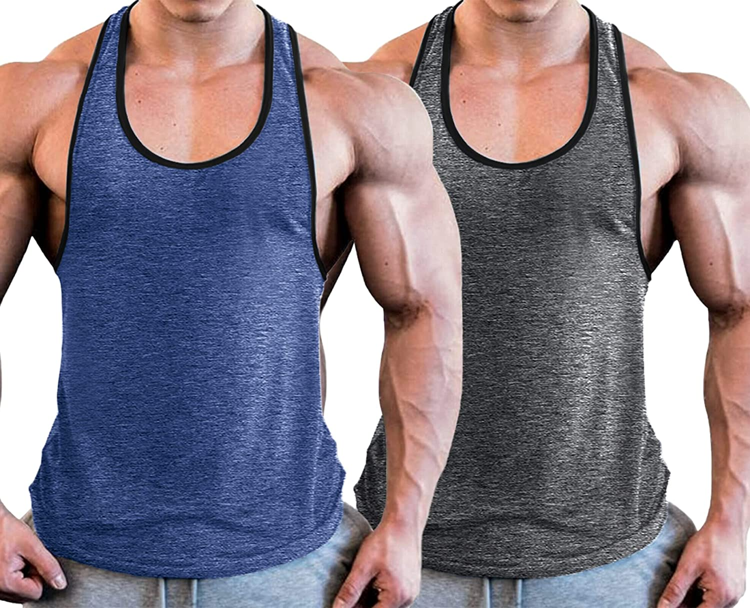 Babioboa Mens 2 Pack Gym Tank Tops Dry Fit Y-Back Workout Muscle Tee Stringer Bodybuilding T-Shirts