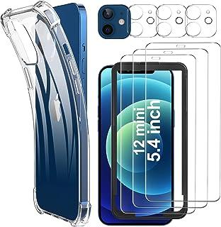 Luibor [7 in 1] Vetro Temperato iPhone 12 mini Pellicola Protettiva + Cover iPhone 12 mini + Pellicola Fotocamera,[9H] [St...