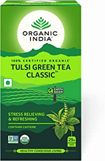Organic India Tulsi Green Tea 25 Tea Bags - By Pack Of 3