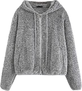 Floerns Women's Causal Fuzzy Drawstring Zip Up Hoodie Jacket Coat with Pockets