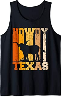 Howdy from Texas with Longhorn - Distressed Western Tank Top