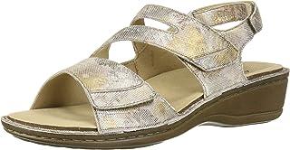 Aravon Women's Cambridge 3 Strap Sandal, Silver Flora, 7 D US