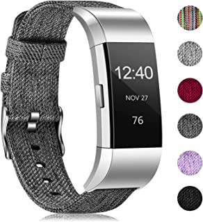 Humenn Bands Compatible with Fitbit Charge 2, Breathable Woven Fabric Quick Replacement Wristband Straps, Women Men