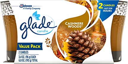 Glade Candle Jar, Air Freshener, Cashmere Woods, 6.8 oz, Pack of 2