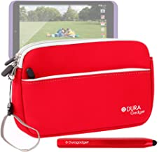 DURAGADGET Red Neoprene Soft Case - Compatible with Tesco Hudl 2 + Chunky Red Stylus!