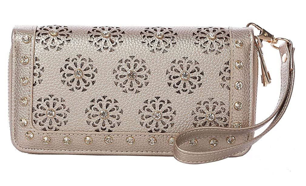 Wristlet For Women Double Zip Around Wallets Rhinestone Perforated Snail Studs Cards Cellphone Pocket