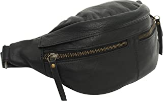 Gusti Bauchtasche Damen Leder - Acton Gürteltasche Cross Body Bag Hüfttasche Leder Braun Reißverschluss Damen Herren Schwarz