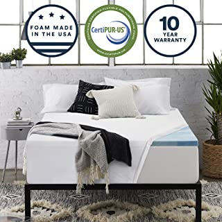 Sleep Innovations 2.5-inch Gel Memory Foam Mattress Topper with 100% Cotton Cover, Made in The USA with a 10-Year Warranty - Queen Size