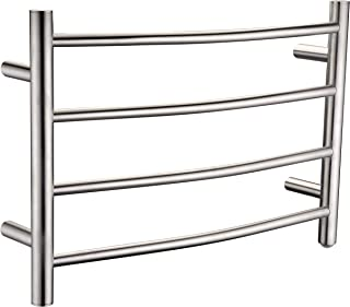 ANZZI Glow 4-Bar Wall Mounted Towel Warmer in Brushed Nickel | Energy Efficient 93W Electric Plug in Heated Towel Rack for Bathroom | Stainless Steel Towel Heater Rail Quick Towel Dryer | TW-AZ018BN