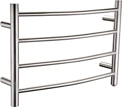 ANZZI Glow 4-Bar Wall Mounted Towel Warmer in Brushed Nickel   Energy Efficient 93W Electric Plug in Heated Towel Rack for Bathroom   Stainless Steel Towel Heater Rail Quick Towel Dryer   TW-AZ018BN