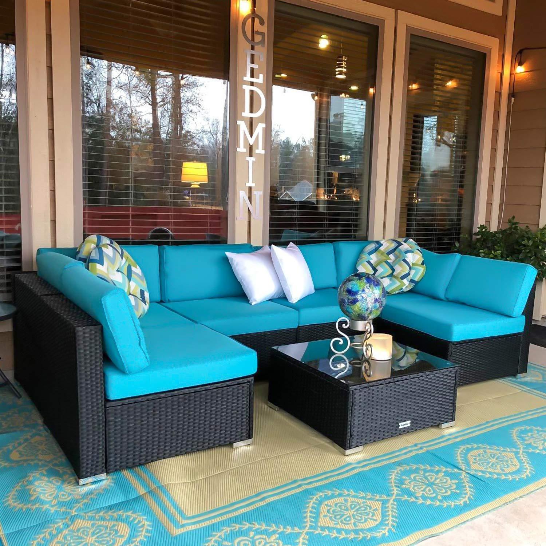 Peach Tree 7 PCs Outdoor Patio PE Rattan Wicker Sofa Sectional Furniture Set With 2 Pillows & Sunroom Furniture: Amazon.com