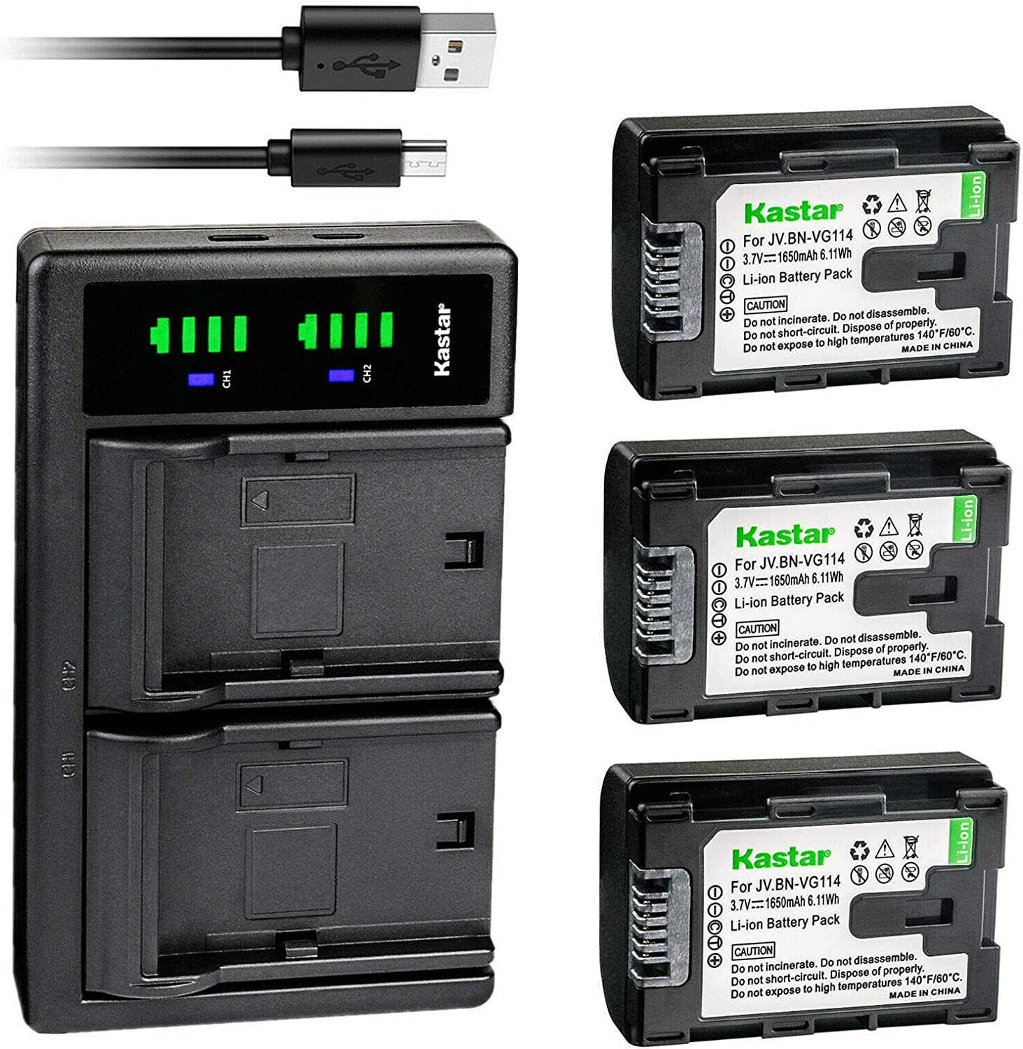 Kastar 3-Pack Battery Minneapolis Mall and LTD2 USB Replacement for JVC E Charger Large-scale sale