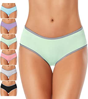 DUKAWA Womens Cotton Underwear Full Coverage Hipster Panties Stretchy Breathable Colorful Briefs Soft Underpants for Ladie...